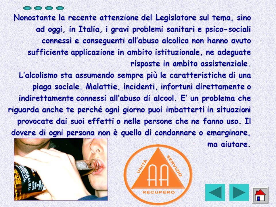 Nonostante la recente attenzione del Legislatore sul tema, sino ad oggi, in Italia, i gravi problemi sanitari e psico-sociali connessi e conseguenti a