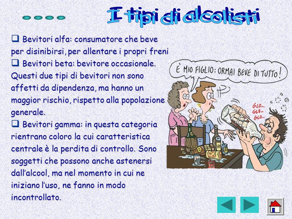 Bevitori alfa: consumatore che beve per disinibirsi, per allentare i propri freni Bevitori alfa: consumatore che beve per disinibirsi, per allentare i