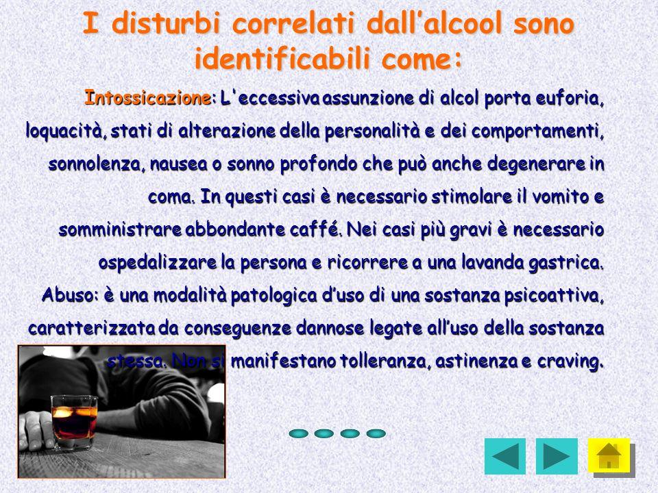 I disturbi correlati dallalcool sono identificabili come: Intossicazione: L'eccessiva assunzione di alcol porta euforia, loquacità, stati di alterazio