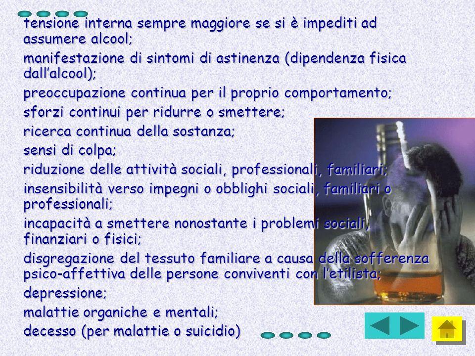 tensione interna sempre maggiore se si è impediti ad assumere alcool; manifestazione di sintomi di astinenza (dipendenza fisica dallalcool); preoccupa