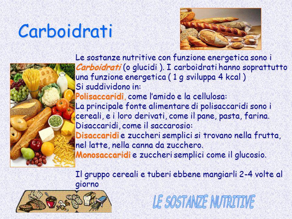 Carboidrati Le sostanze nutritive con funzione energetica sono i Carboidrati (o glucidi ). I carboidrati hanno soprattutto una funzione energetica ( 1
