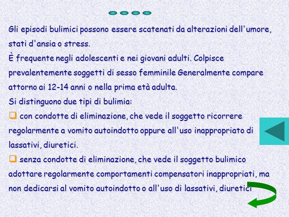Gli episodi bulimici possono essere scatenati da alterazioni dell'umore, stati d'ansia o stress. È frequente negli adolescenti e nei giovani adulti. C