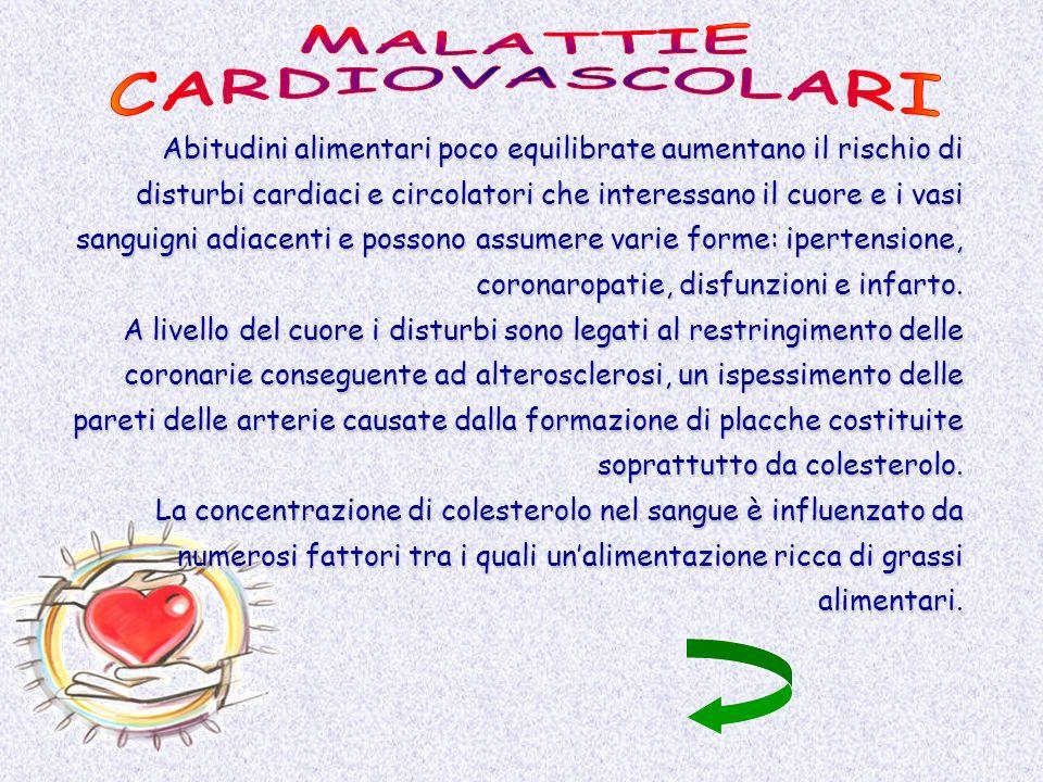Abitudini alimentari poco equilibrate aumentano il rischio di disturbi cardiaci e circolatori che interessano il cuore e i vasi sanguigni adiacenti e