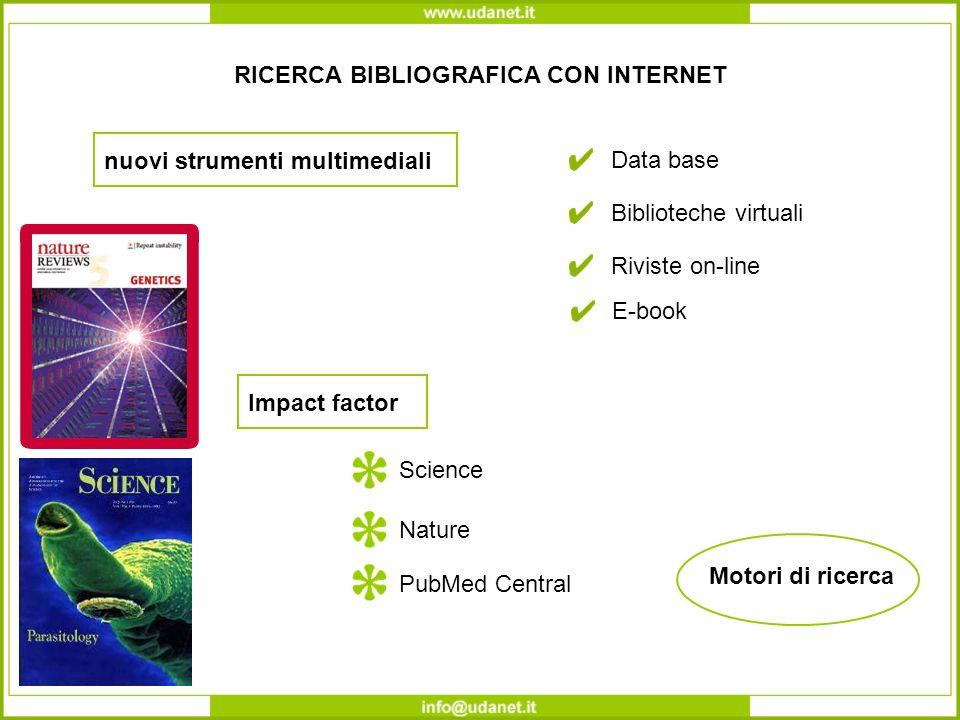 RICERCA BIBLIOGRAFICA CON INTERNET nuovi strumenti multimediali Motori di ricerca Data base Biblioteche virtuali Riviste on-line Impact factor Science Nature E-book PubMed Central