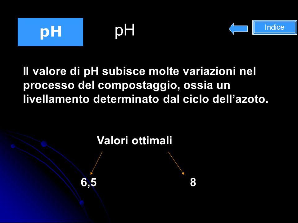 pH Il valore di pH subisce molte variazioni nel processo del compostaggio, ossia un livellamento determinato dal ciclo dellazoto.