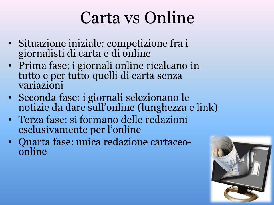 Carta vs Online Situazione iniziale: competizione fra i giornalisti di carta e di online Prima fase: i giornali online ricalcano in tutto e per tutto