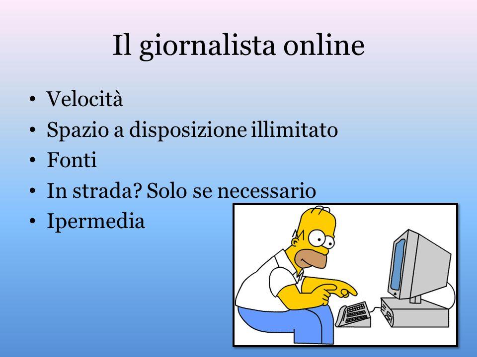 Il giornalista online Velocità Spazio a disposizione illimitato Fonti In strada? Solo se necessario Ipermedia