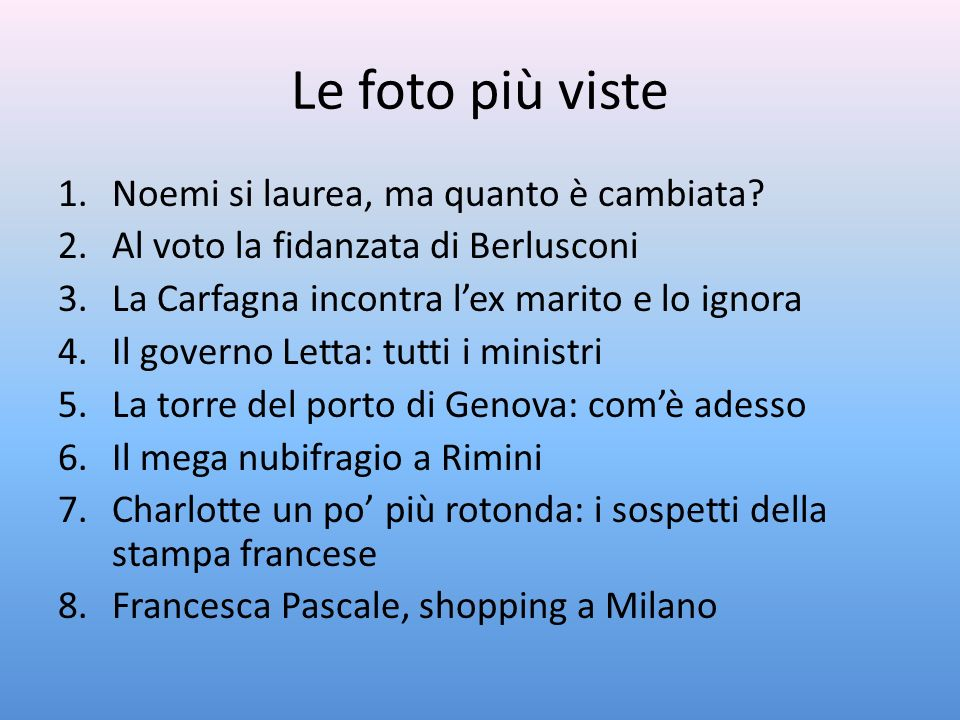 Le foto più viste 1.Noemi si laurea, ma quanto è cambiata? 2.Al voto la fidanzata di Berlusconi 3.La Carfagna incontra lex marito e lo ignora 4.Il gov