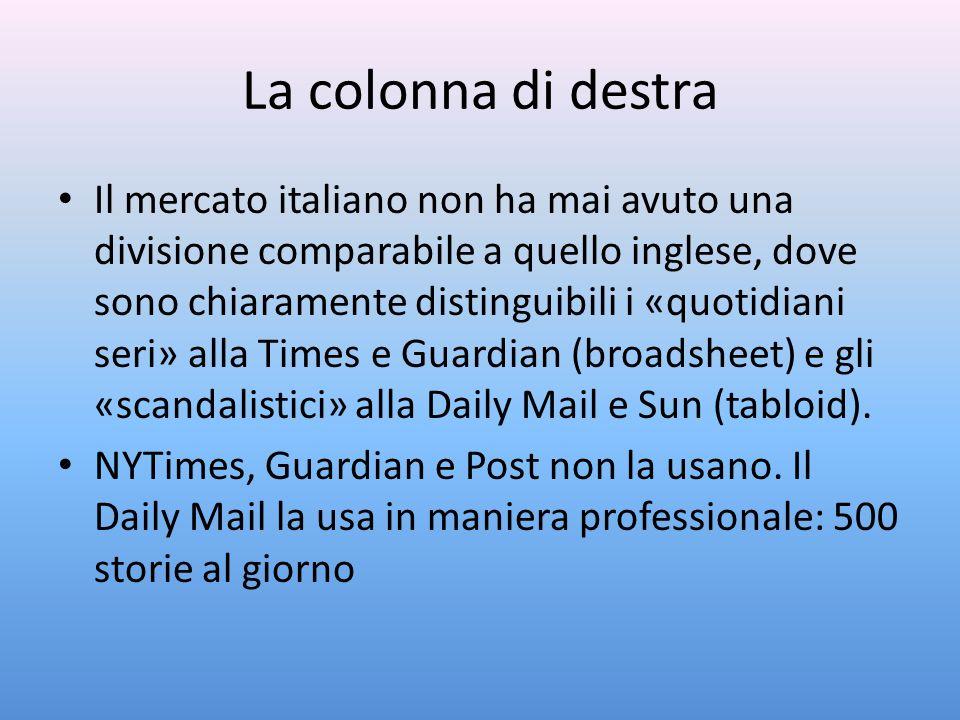 La colonna di destra Il mercato italiano non ha mai avuto una divisione comparabile a quello inglese, dove sono chiaramente distinguibili i «quotidian