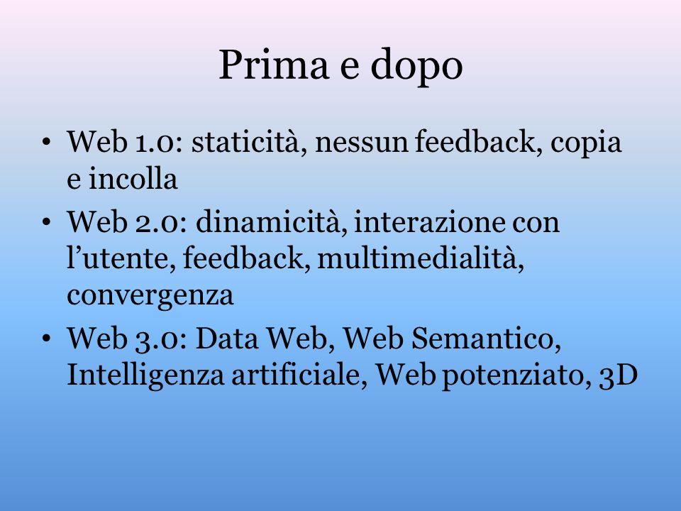 Prima e dopo Web 1.0: staticità, nessun feedback, copia e incolla Web 2.0: dinamicità, interazione con lutente, feedback, multimedialità, convergenza