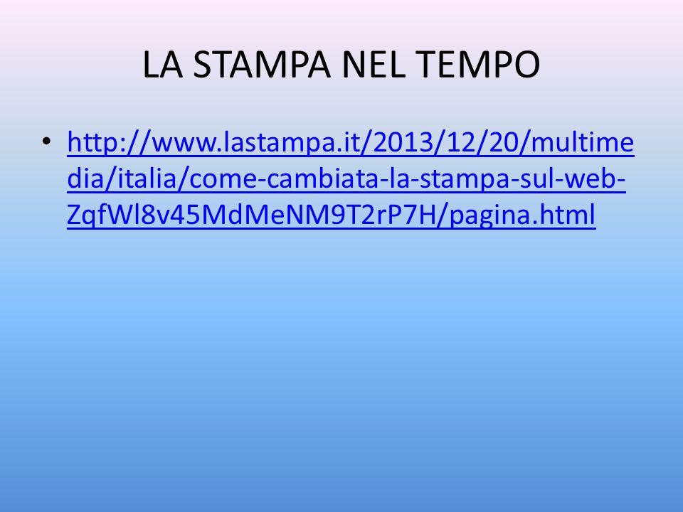 LA STAMPA NEL TEMPO http://www.lastampa.it/2013/12/20/multime dia/italia/come-cambiata-la-stampa-sul-web- ZqfWl8v45MdMeNM9T2rP7H/pagina.html http://ww