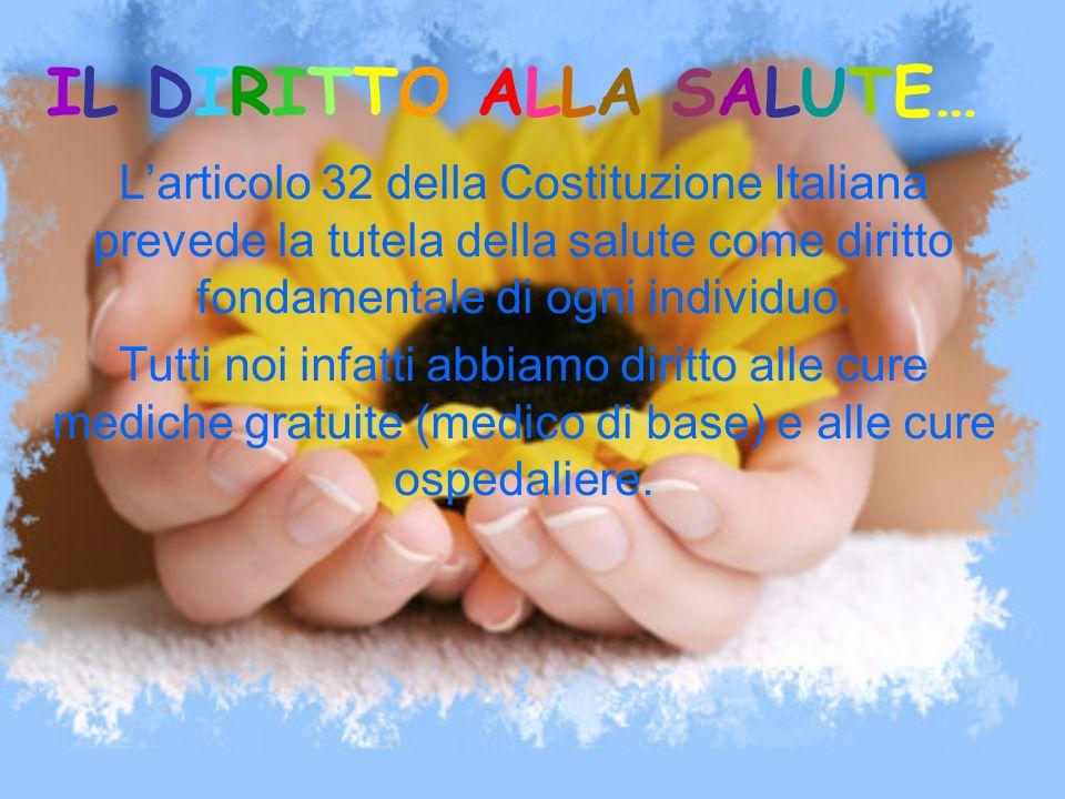 IL DIRITTO ALLA SALUTE… Larticolo 32 della Costituzione Italiana prevede la tutela della salute come diritto fondamentale di ogni individuo. Tutti noi
