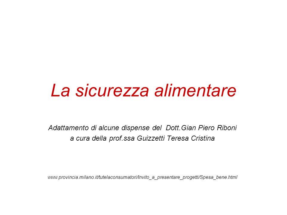 La sicurezza alimentare Adattamento di alcune dispense del Dott.Gian Piero Riboni a cura della prof.ssa Guizzetti Teresa Cristina www.provincia.milano