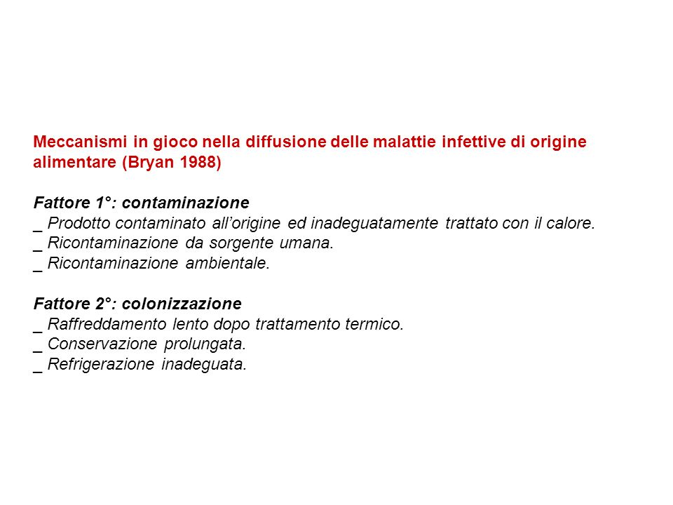 Meccanismi in gioco nella diffusione delle malattie infettive di origine alimentare (Bryan 1988) Fattore 1°: contaminazione _ Prodotto contaminato all