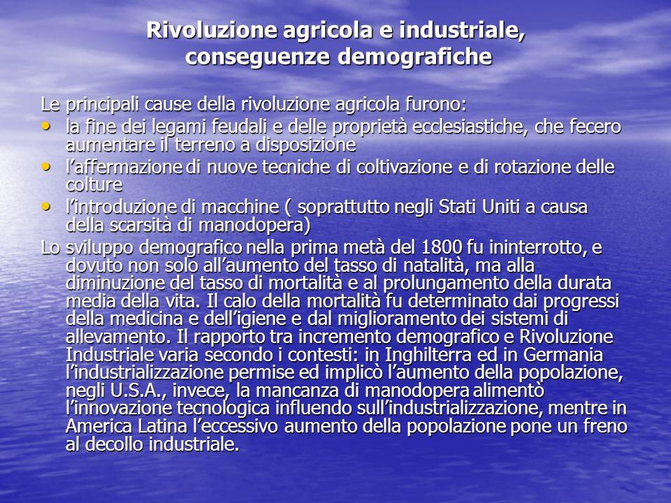 Rivoluzione agricola e industriale, conseguenze demografiche Le principali cause della rivoluzione agricola furono: la fine dei legami feudali e delle