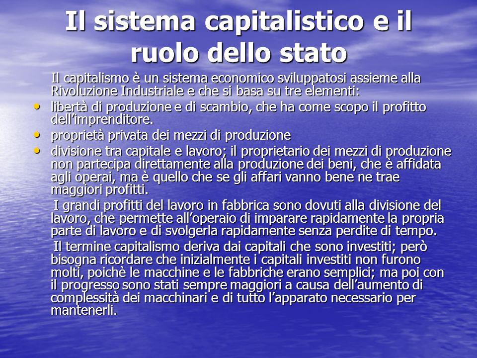 Il sistema capitalistico e il ruolo dello stato Il capitalismo è un sistema economico sviluppatosi assieme alla Rivoluzione Industriale e che si basa