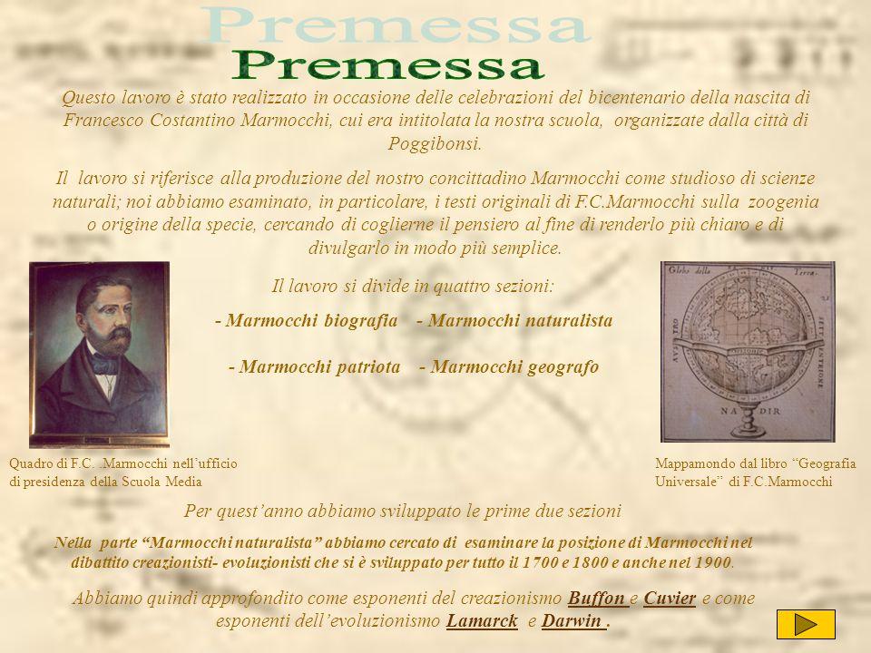 Questo lavoro è stato realizzato in occasione delle celebrazioni del bicentenario della nascita di Francesco Costantino Marmocchi, cui era intitolata