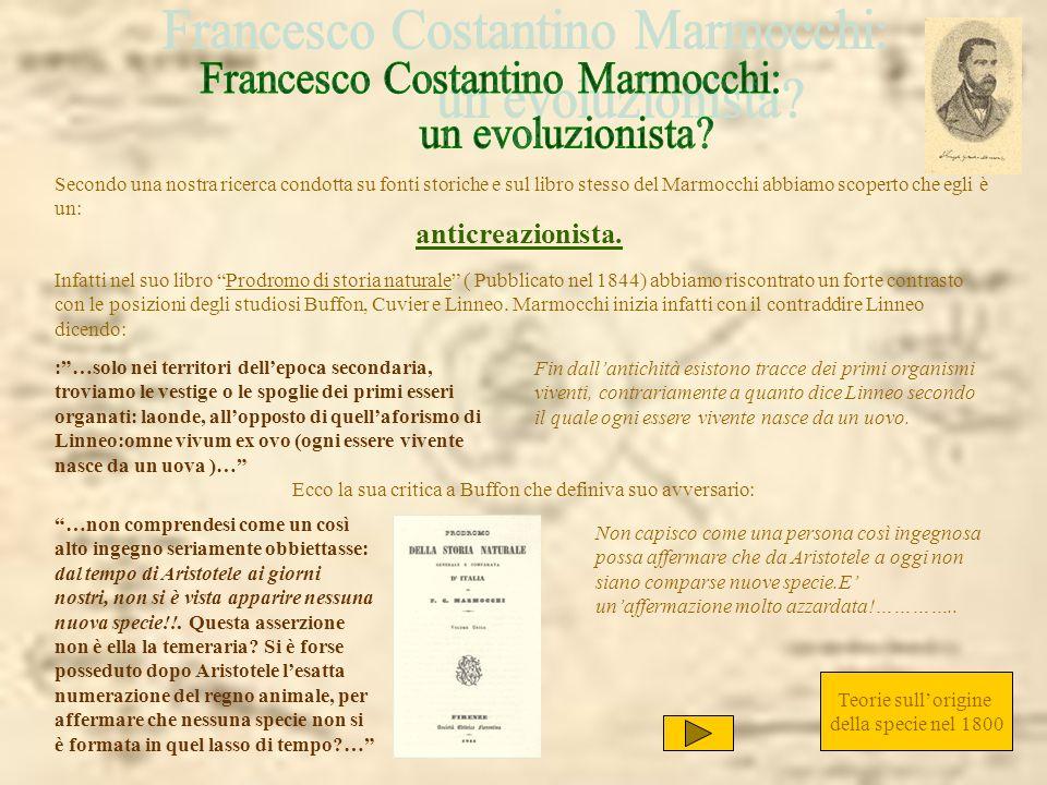 Marmocchi approva gli studi di zoologia di Cuvier soprattutto riguardo alla classificazione degli animali: …ed al Lamarck, e più ancora al Cuvier, la zoologia è debitrice di un immenso miglioramento nella classificazione degli animali invertebrati.