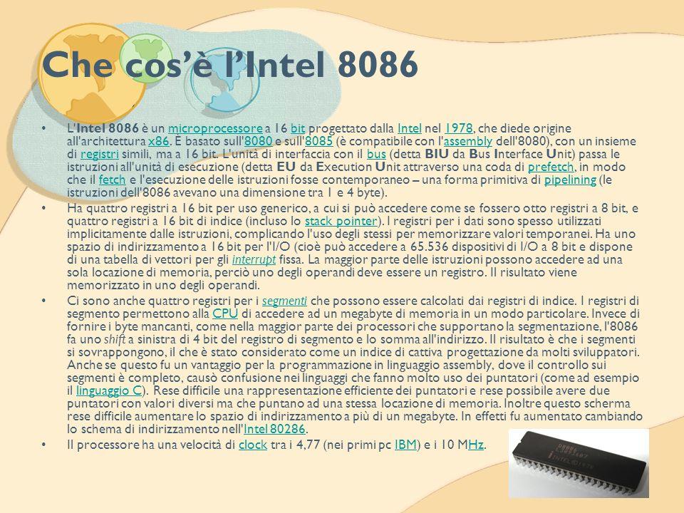 Che cosè lIntel 8086 L'Intel 8086 è un microprocessore a 16 bit progettato dalla Intel nel 1978, che diede origine all'architettura x86. È basato sull