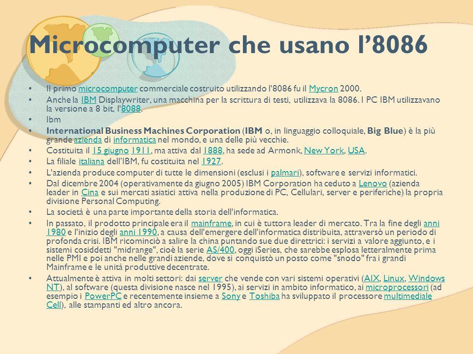 Microcomputer che usano l8086 Il primo microcomputer commerciale costruito utilizzando l'8086 fu il Mycron 2000.microcomputerMycron Anche la IBM Displ