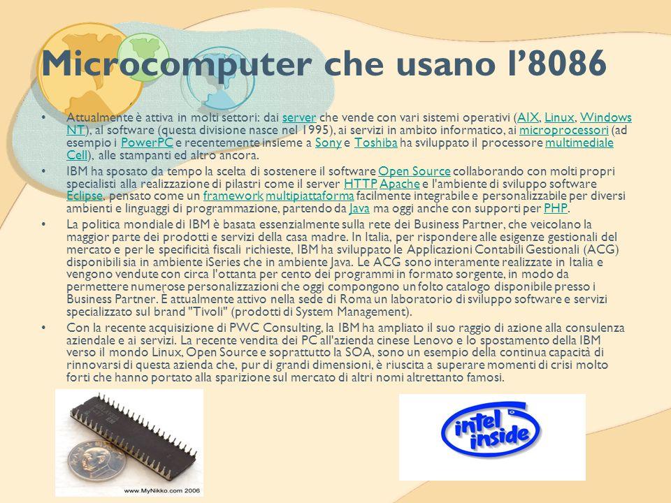 Microcomputer che usano l8086 Attualmente è attiva in molti settori: dai server che vende con vari sistemi operativi (AIX, Linux, Windows NT), al soft