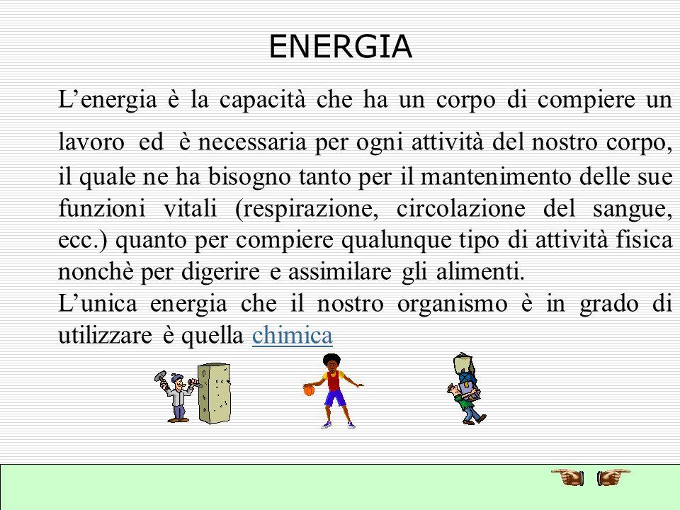 Luomo deve assumere il cibo allo scopo di fornire energia allorganismo. energia Una alimentazione corretta aumenta le resistenze dellorganismo e forni