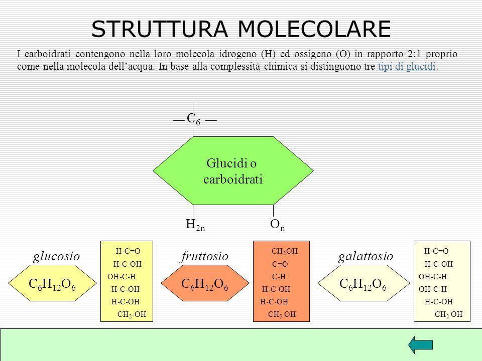 GLUCIDI O CARBOIDRATI I carboidrati si trovano: pane farina monosaccaridi (glucosio) disaccaridi (saccarosio) polisaccaridi (amido) patate legumi latt
