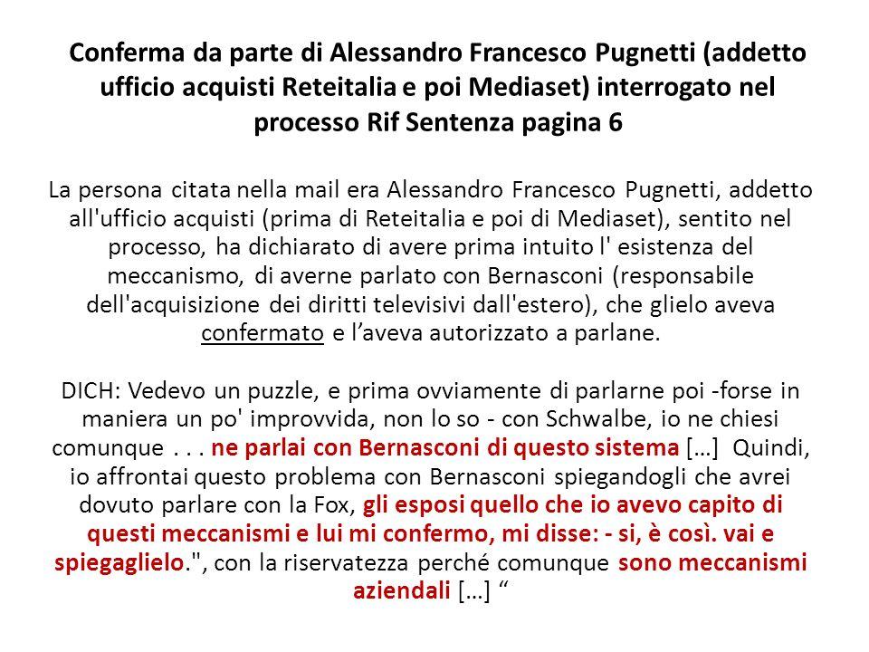 Conferma da parte di Alessandro Francesco Pugnetti (addetto ufficio acquisti Reteitalia e poi Mediaset) interrogato nel processo Rif Sentenza pagina 6
