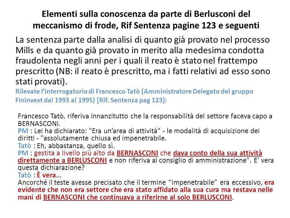 Elementi sulla conoscenza da parte di Berlusconi del meccanismo di frode, Rif Sentenza pagine 123 e seguenti La sentenza parte dalla analisi di quanto già provato nel processo Mills e da quanto già provato in merito alla medesima condotta fraudolenta negli anni per i quali il reato è stato nel frattempo prescritto (NB: il reato è prescritto, ma i fatti relativi ad esso sono stati provati).