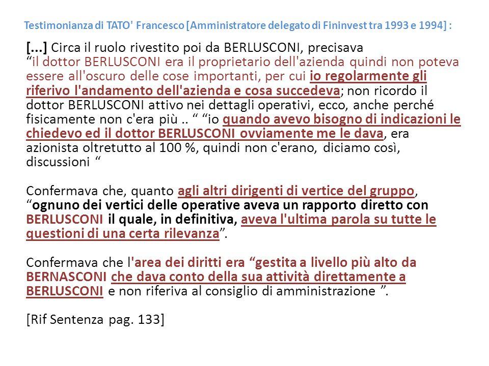 Testimonianza di TATO' Francesco [Amministratore delegato di Fininvest tra 1993 e 1994] : [...] Circa il ruolo rivestito poi da BERLUSCONI, precisava