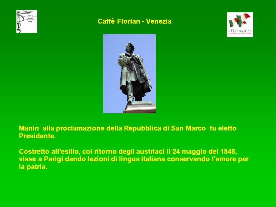 Manin alla proclamazione della Repubblica di San Marco fu eletto Presidente. Costretto all'esilio, col ritorno degli austriaci il 24 maggio del 1848,