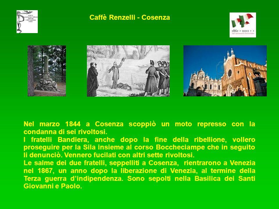 Nel marzo 1844 a Cosenza scoppiò un moto represso con la condanna di sei rivoltosi. I fratelli Bandiera, anche dopo la fine della ribellione, vollero