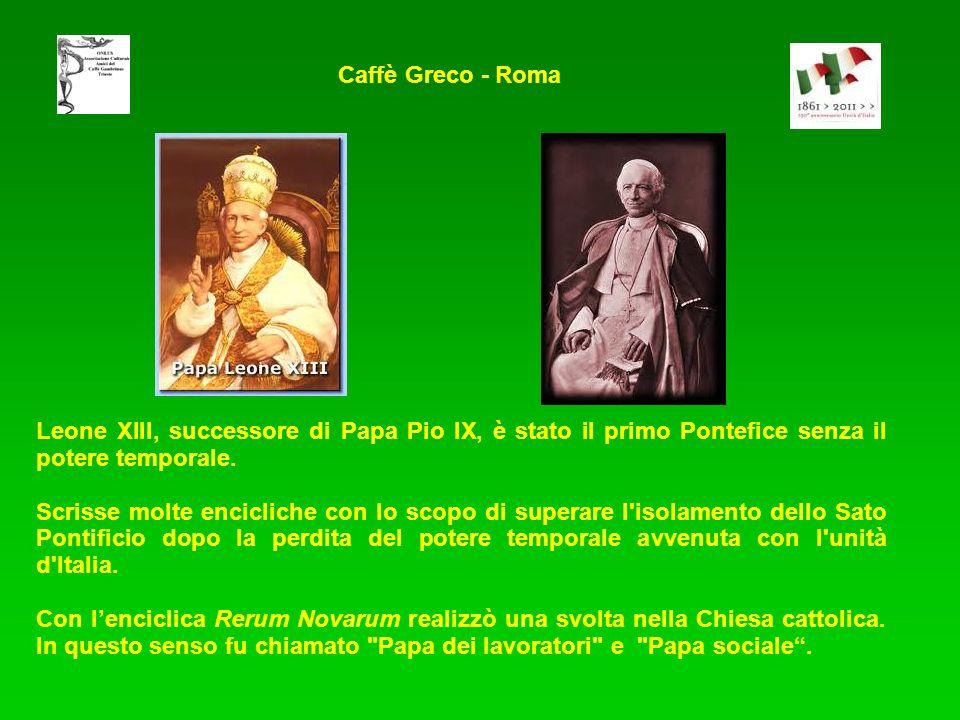 Leone XIII, successore di Papa Pio IX, è stato il primo Pontefice senza il potere temporale. Scrisse molte encicliche con lo scopo di superare l'isola