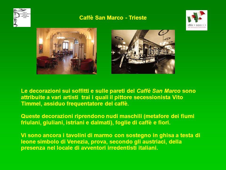 Le decorazioni sui soffitti e sulle pareti del Caffè San Marco sono attribuite a vari artisti trai i quali il pittore secessionista Vito Timmel, assiduo frequentatore del caffè.