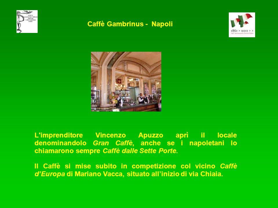 L imprenditore Vincenzo Apuzzo aprì il locale denominandolo Gran Caffè, anche se i napoletani lo chiamarono sempre Caffè dalle Sette Porte.