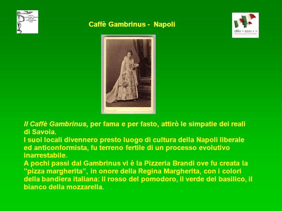 ll Caffè Gambrinus, per fama e per fasto, attirò le simpatie dei reali di Savoia. I suoi locali divennero presto luogo di cultura della Napoli liberal