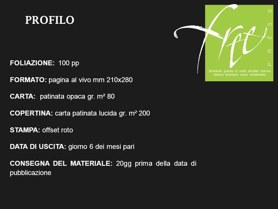 PROFILO FOLIAZIONE: 100 pp FORMATO: pagina al vivo mm 210x280 CARTA: patinata opaca gr.