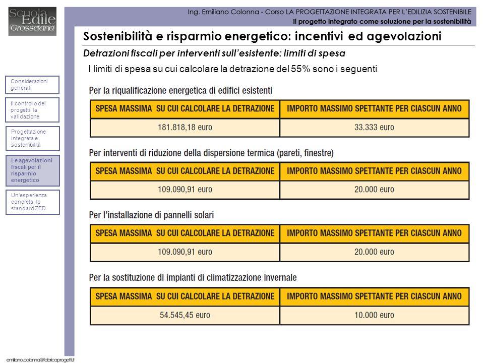 Detrazioni fiscali per interventi sullesistente: limiti di spesa I limiti di spesa su cui calcolare la detrazione del 55% sono i seguenti Sostenibilit