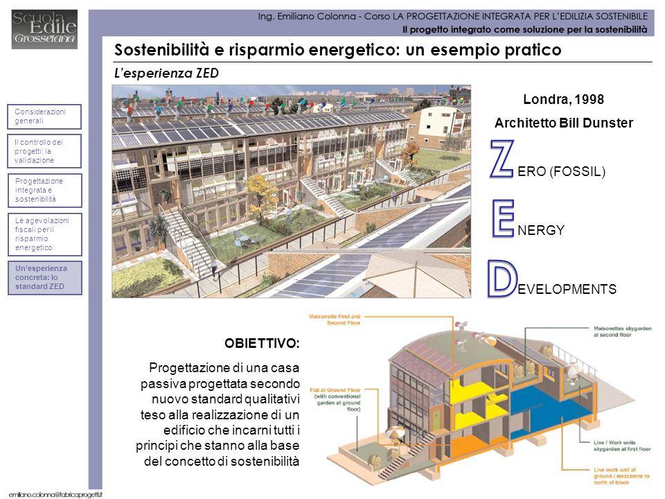 Lesperienza ZED ERO (FOSSIL) Sostenibilità e risparmio energetico: un esempio pratico NERGY EVELOPMENTS Londra, 1998 Architetto Bill Dunster OBIETTIVO