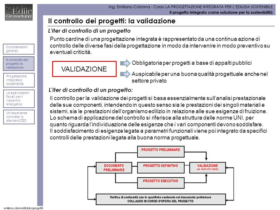 Il controllo dei progetti: la validazione Liter di controllo di un progetto Punto cardine di una progettazione integrata è rappresentato da una contin