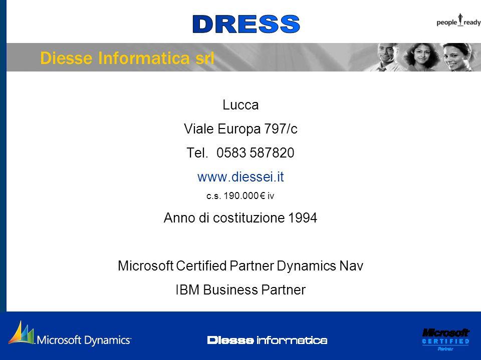 Diesse Informatica srl Lucca Viale Europa 797/c Tel. 0583 587820 www.diessei.it c.s. 190.000 iv Anno di costituzione 1994 Microsoft Certified Partner