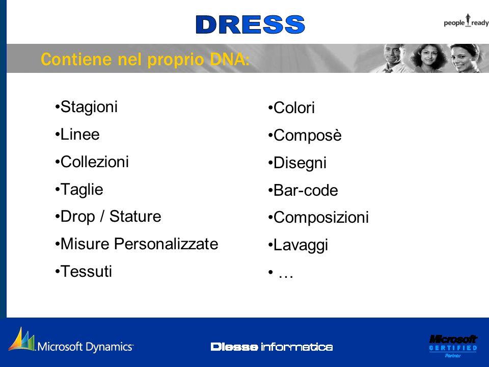 Stagioni Linee Collezioni Taglie Drop / Stature Misure Personalizzate Tessuti Colori Composè Disegni Bar-code Composizioni Lavaggi … Contiene nel prop