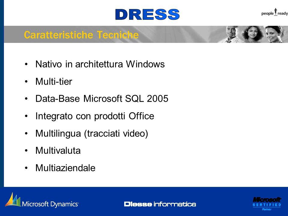 Caratteristiche Tecniche Nativo in architettura Windows Multi-tier Data-Base Microsoft SQL 2005 Integrato con prodotti Office Multilingua (tracciati v