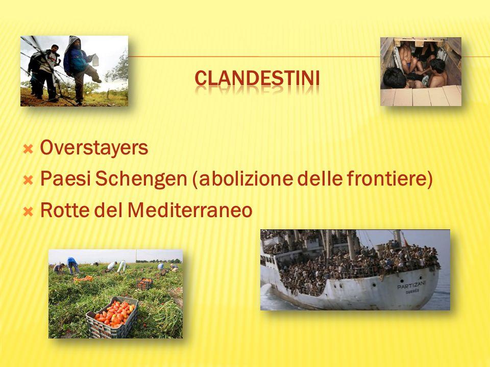 Overstayers Paesi Schengen (abolizione delle frontiere) Rotte del Mediterraneo