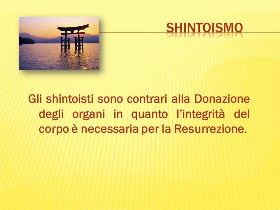 Gli shintoisti sono contrari alla Donazione degli organi in quanto lintegrità del corpo è necessaria per la Resurrezione.
