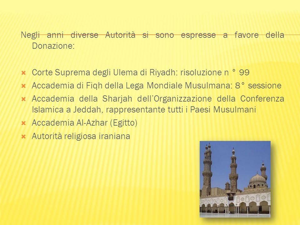 Negli anni diverse Autorità si sono espresse a favore della Donazione: Corte Suprema degli Ulema di Riyadh: risoluzione n ° 99 Accademia di Fiqh della