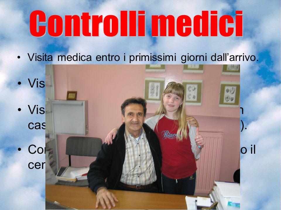 Visita medica entro i primissimi giorni dallarrivo. Controllo ecografico della tiroide presso il centro specialistico di Milano. Visita odontoiatrica