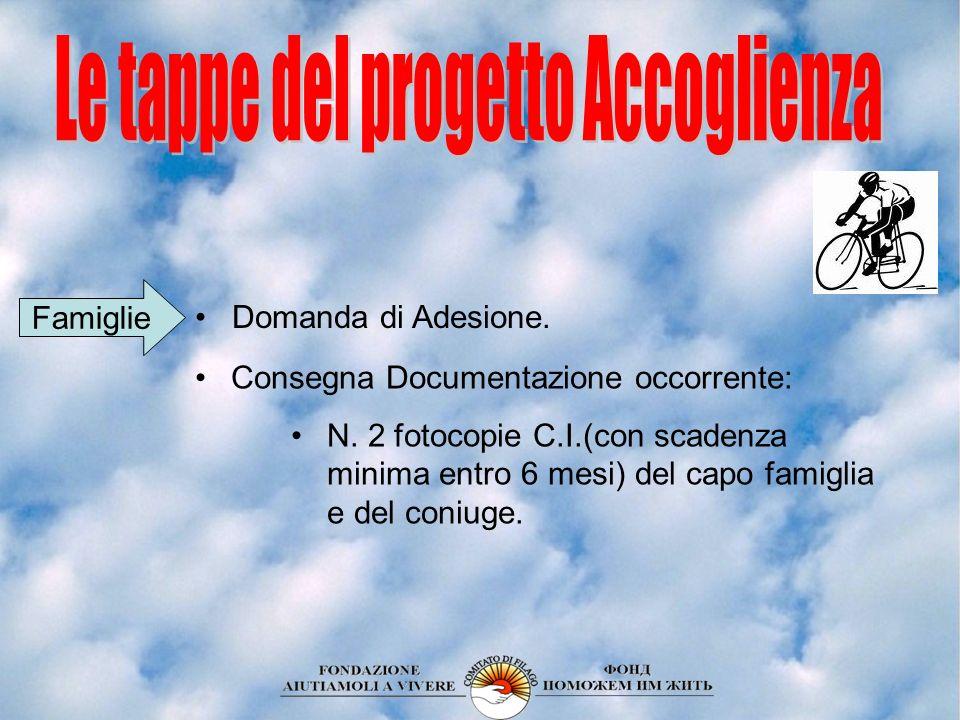 Domanda di Adesione. Consegna Documentazione occorrente: N. 2 fotocopie C.I.(con scadenza minima entro 6 mesi) del capo famiglia e del coniuge. Famigl