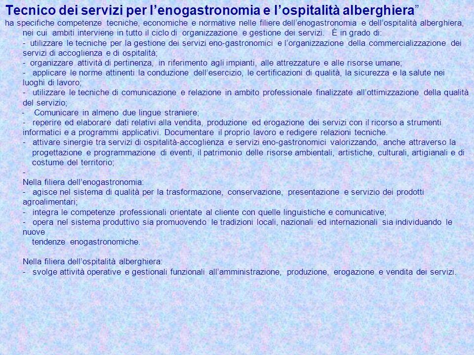 Tecnico dei servizi per lenogastronomia e lospitalità alberghiera ha specifiche competenze tecniche, economiche e normative nelle filiere dellenogastr