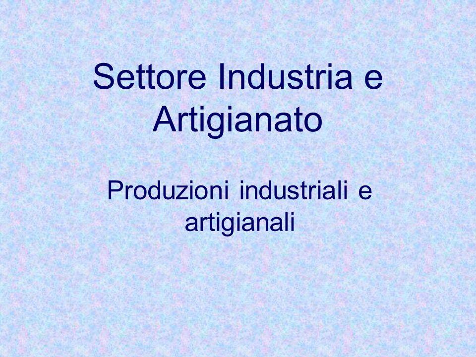 Settore Industria e Artigianato Produzioni industriali e artigianali
